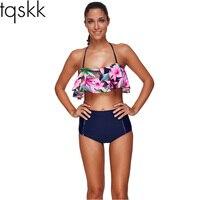 TQSKK 2017 New High Waist Swimsuit Women Bikinis Female Swimwear Retro Bandeau Printed Bikini Set Bathing