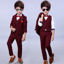 Suit for boy 3pcs/set Boys Suits for Weddings Plaid Blazer+Vest+Pants Kids Clothing Sets Boys Clothes Spring Autumn Suits 3-10y 2019 boy blazer suits 3pcs jacket vest pants kids wedding suit flower boys formal tuxedos school suit kids spring clothing set