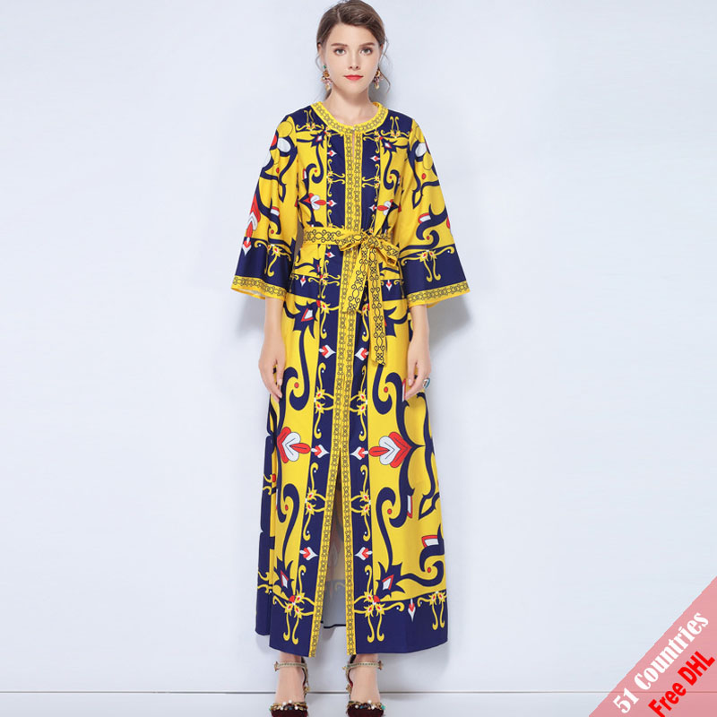 7c1d9ab86cb6 Free DHL High Quality Runway Designer Maxi Dress New 2018 Women s Long  Sleeve Belt High Split