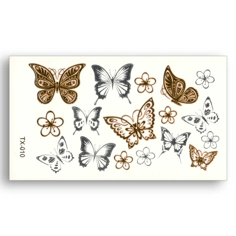Flower Butterfly Fake tattoo pattern Metallic Gold Sliver Waterproof Temporary Stickers Water Transfer Sexy Beauty Body Art