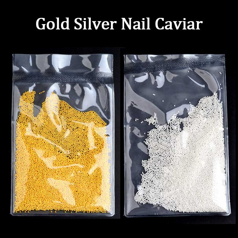 (PROMOTION) 50g / pack New Gold Silver Metal Kaviar Pärlor 3D Nail Art Decorations DIY Nail Accessories Manicure Tools