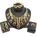 Jiayi jiaduo elegante indiano conjunto de jóias banhado a ouro-banhado a colar com gotas de cristal vermelho para as mulheres de jóias de noiva