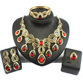 jiayi jiaduo Stylish Indian Jewelry Set plated Gold-plated necklace with red crystal drops for women bridal jewelry