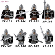 Single Medieval Knight Lord of the Rings of Gondor Spear Archer Sword Model building blocks bricks toys(China)
