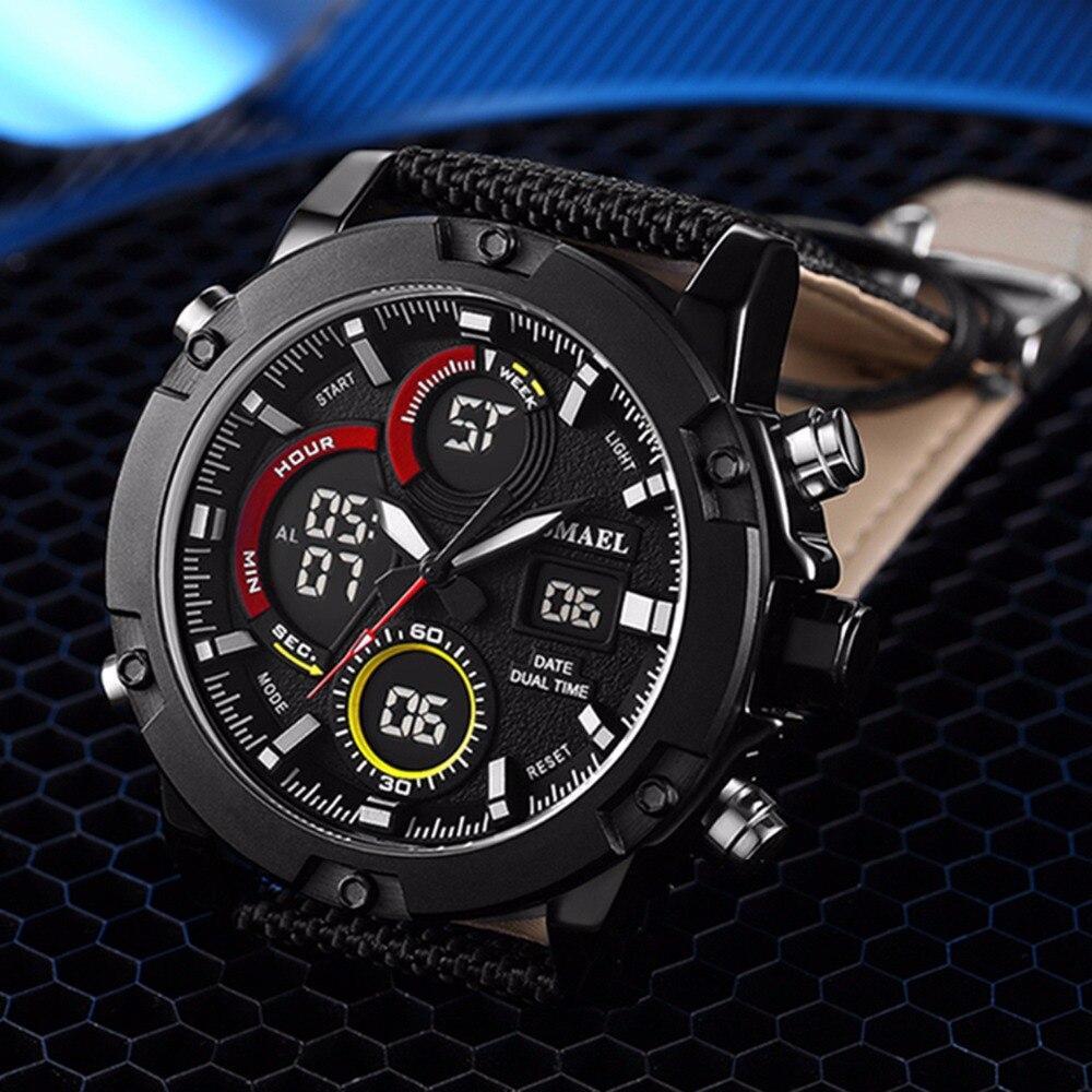 SMAEL Luxus Marke Männer Analog Digital Leder 2018 Sport Uhren männer Armee Militär Uhr Mann Quarzuhr Relogio Masculino - 3