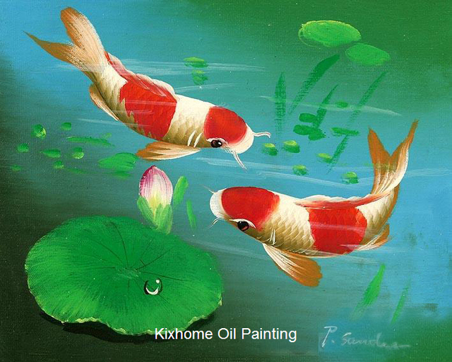 Japanese koi fish arts hand painted wall art reproduction for Koi reproduction