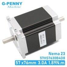 محرك متدرج NEMA23 بعمود مزدوج 57x76 مللي متر D = 8 مللي متر 1.89N. m 3A 4 Lead 1.8deg بعمود مزدوج لـ ماكينة بتحكم رقمي بالكمبيوتر وطابعة ثلاثية الأبعاد!