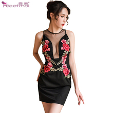 Cheongsam Embroidery Sexy Lingerie Women Deep U-Neck Transparent Erotic Back Zipper Hot Dress Underwear
