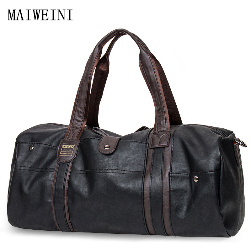 MAIWEINI 2017 Men Soft Leather Handbags Casual Large capacity portable shoulder bag Men Travel Duffle Bag PU leather Tote bag