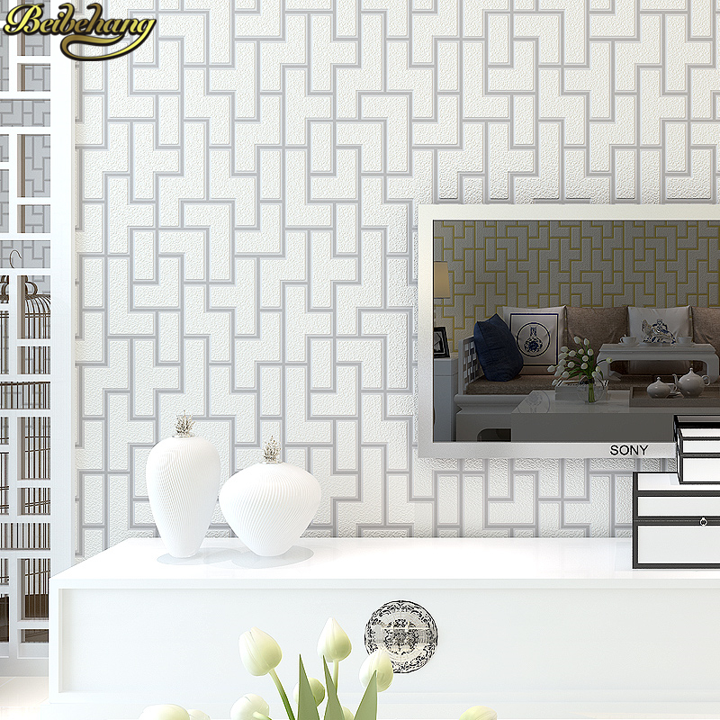 beibehang papel de parede 3D Chinese geometric grid wallpaper for walls 3 d Mosaic Wall paper roll Modern Embossed Living room wallpaper for walls 3 d modern trdimensional geometry 4d tv background wall paper roll silver gray wallpapers for living room
