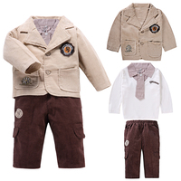3Pcs Baby Boys Clothing Sets Children S Single Breasted Kids Toddle Clothes For Formal Party Enfant
