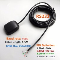 DIY conector RS232 protocolo NMEA0183 NE0-7M UBLOX GPS chip de diseño de salida RS232 receptor GPS aplicaciones de control Industrial