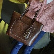 Bucket-Bag Tote Messenger-Bag Crossbody-Bag Tassel Vintage High-Quality Fashion Women tassel detail bucket bag
