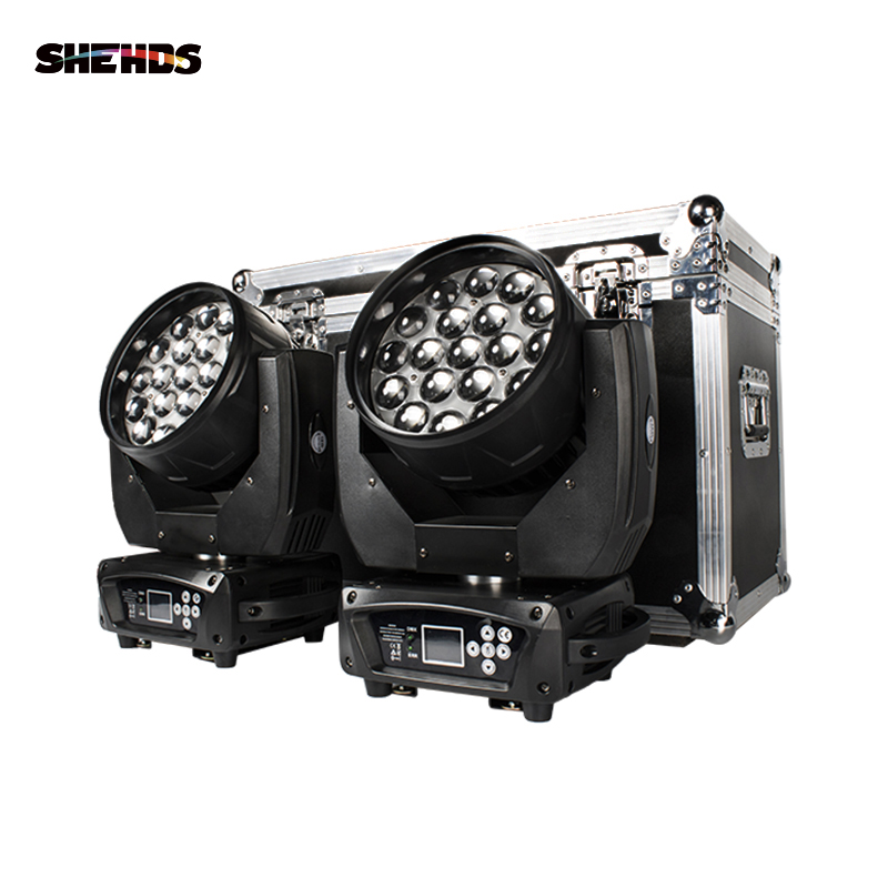 SHEHDS Flight Case With 2 Pieces LED Beam+Wash 19x15W RGBW Zoom  Moving Head Lighting For Disco KTV Party Free Fast Shipping