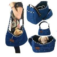 Dog Backpack Portable Pet Carrier Bag Small Cat Dog Shoulder Bag Jeans Cloth Sling Bag for Pet Dog Puppy Carrying Bag
