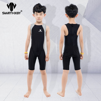 HXBY swimwear Swimwear Kids Competitive Swimming One Piece Swimsuit Knee Boys Swimsuits Bathing Suit Swim Wear