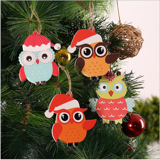 2018 wooden christmas tree decorations christmas decorations for home owl christmas tree ornament