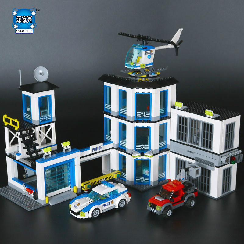 Hot City Series The New Police Station Set Children Educational Lepins Building Blocks Bricks Figures Boy Funny Toys Model Gift hot city series aviation private aircraft lepins building block crew passenger figures airplane cars bricks toys for kids gifts