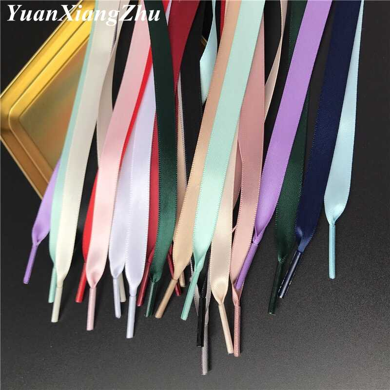 New 15 Color 1 cm Width Satin Silk Ribbon Shoelaces 80/100/120/150 CM Length Sneaker Sport Shoes Lace Drop Shipping S-2