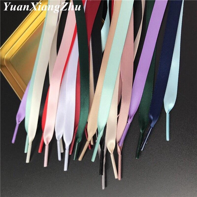 New 15 Color 1 Cm Width Satin Silk Ribbon Shoelaces 80/100/120/150 CM Length Sneaker Sport Shoes Lace Drop Shipping S-2