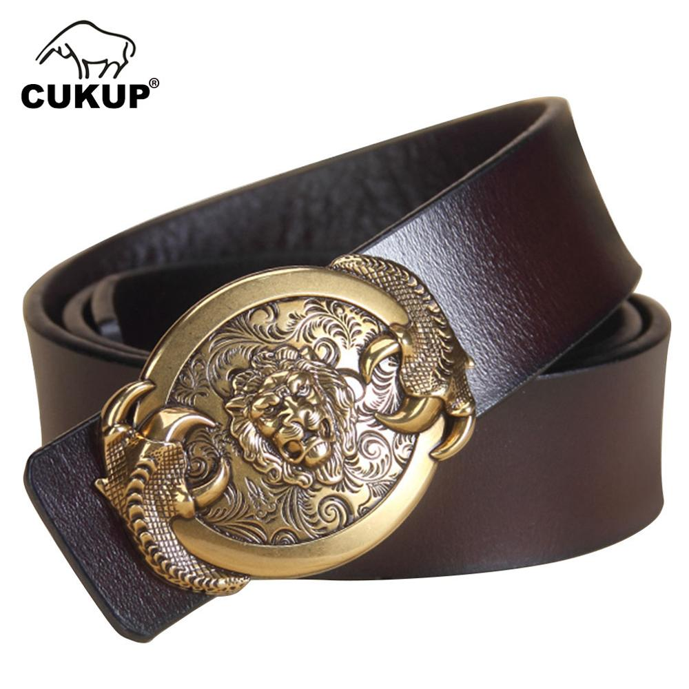 CUKUP High Quality Men's Cow Skin Cowhide Leather Men Gold Lion Pattern Smooth Buckle Metal 3.8cm Width Trousers Belts LUCK752