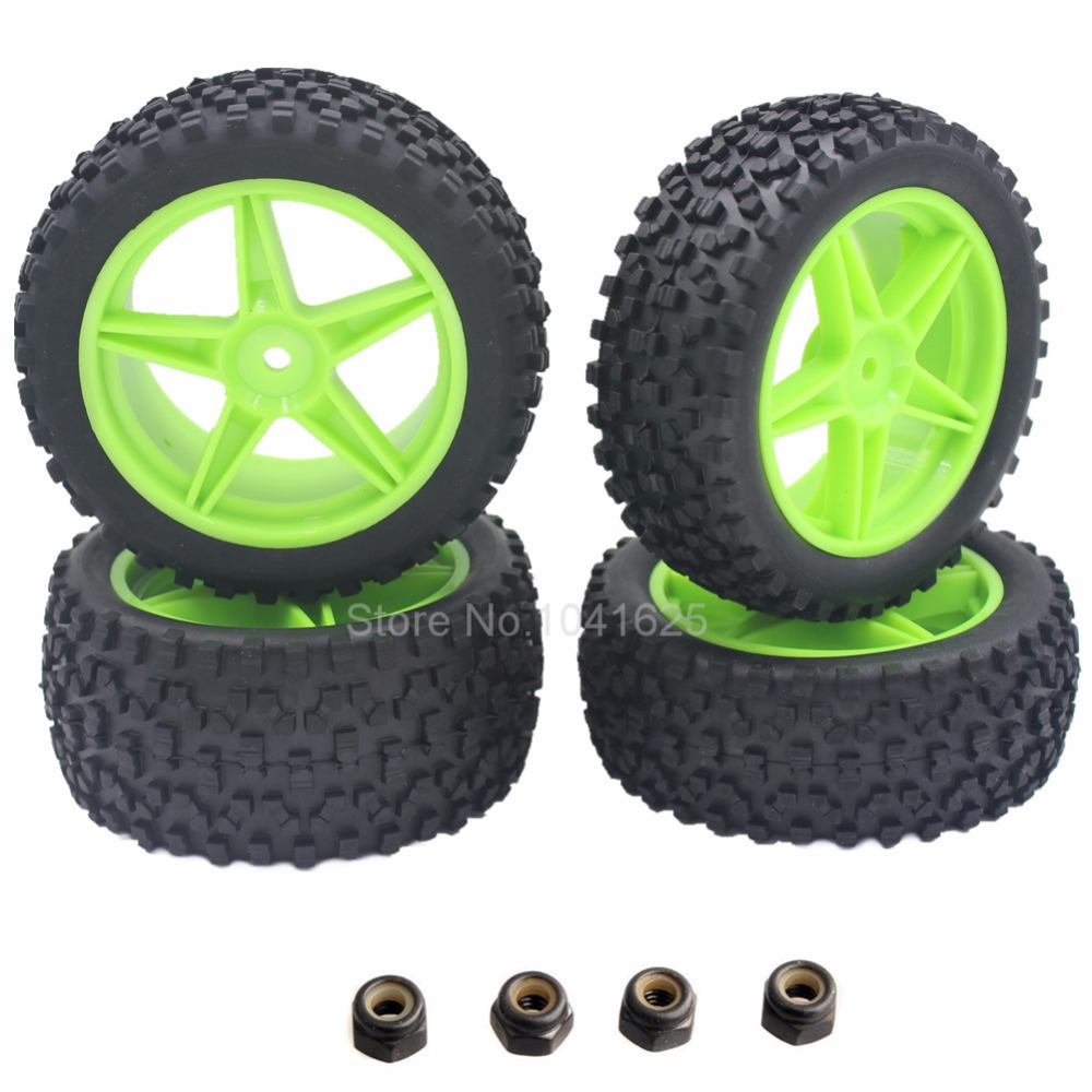 4 Pieces Front & Rear Buggy Tyres Wheels 12mm Hex For 1/10 RC Car Fit HSP STORMER 94105 Redcat Shockwave Nitro Buggy сотовый телефон keneksi ellips white
