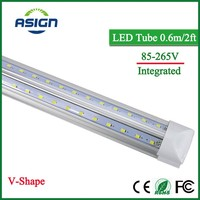 V Shape Integrated LED Bulbs Tubes T8 600mm 20W 2 FT Led Tube Light 2Feet AC85