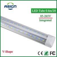V Shape Integrated LED Bulbs Tubes T8 600mm 20W 2 FT Led Tube Light 2Feet AC85
