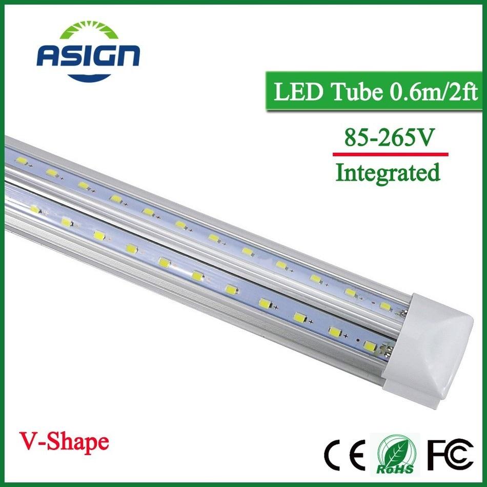 V-Shape Integrated LED Bulbs Tubes T8 600mm 20W 2 FT Led Tube Light 2Feet AC85-265V 96LEDs SMD2835 LED Light Super Bright 2000lm