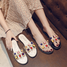 Summer Ladies Rubber Slippers Mules Low Sandals Water Babouche New 2019 Sliders Clogs Platform Flat Modis Female Clear Slides