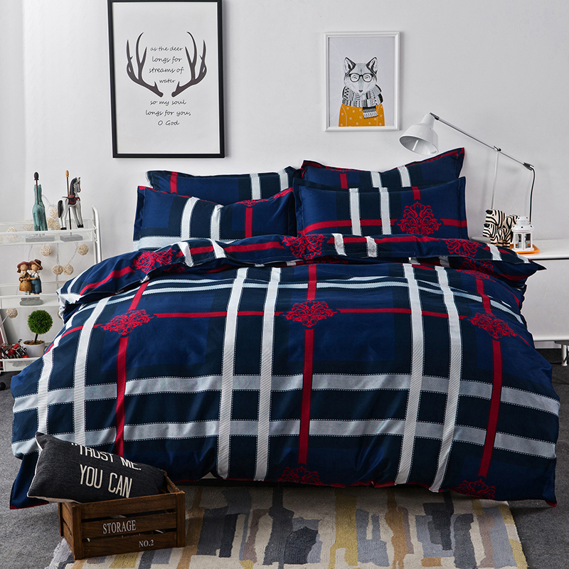 blue stripe plaid bedding bed set red floral bedsheet bedlinen queen twin king geometric comforter duvet