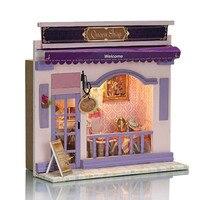 Tienda de Muebles de casa de Muñecas De Madera miniatura Europeo Kits de BRICOLAJE Joyas de La Reina Tienda de Casa de Muñecas Modelo Hecho A Mano Rompecabezas Regalo de Navidad