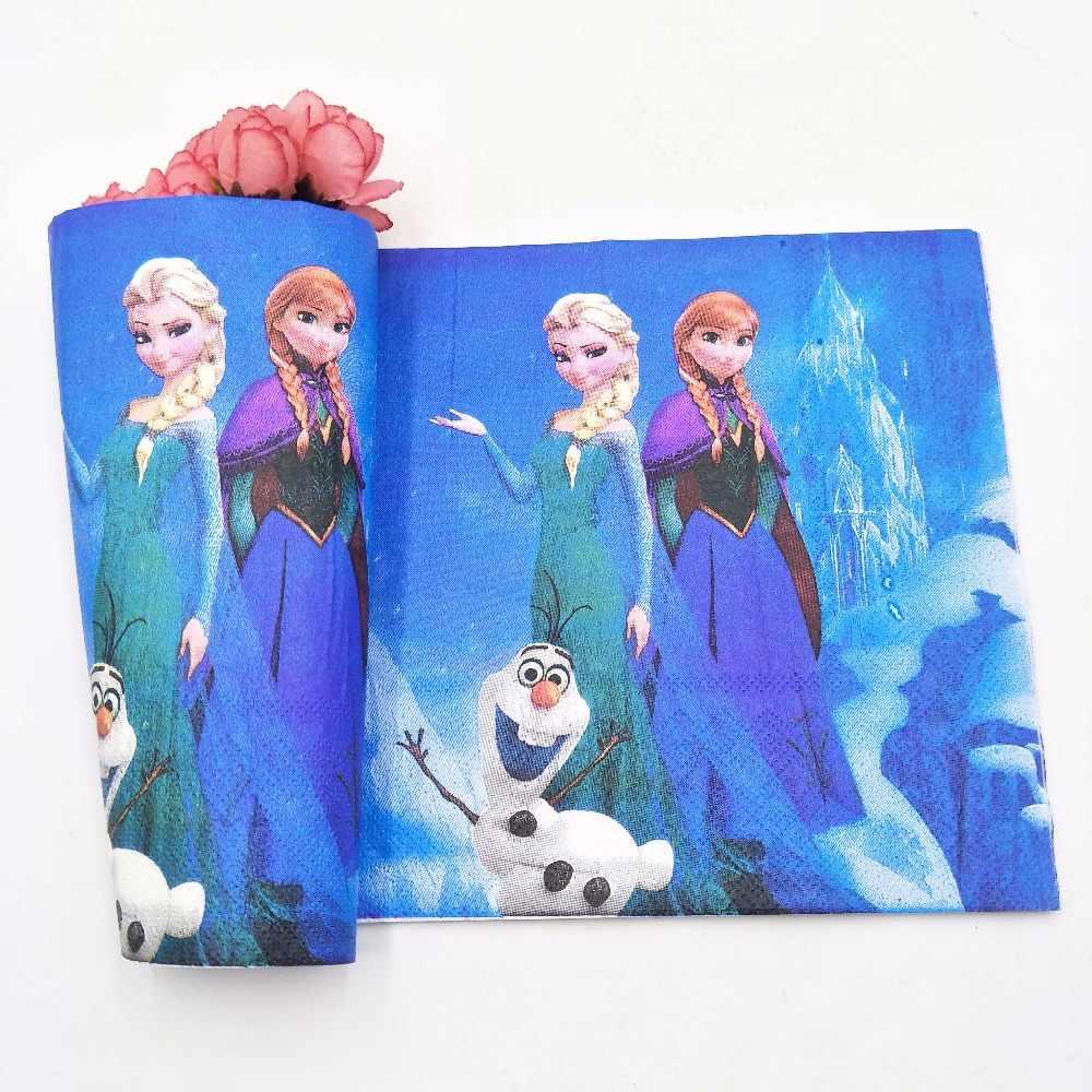 ดิสนีย์เจ้าหญิงแช่แข็ง Anna Elsa ธงผ้าปูโต๊ะหลอดถ้วยแผ่นกล่องขนมของขวัญ Party Supplies เด็กวันเกิด Party ตกแต่ง