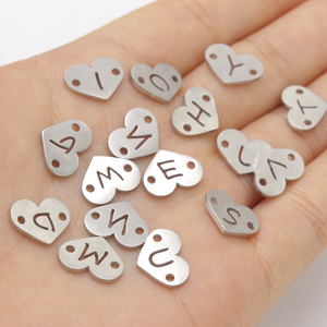 Image 4 - Fnixtar 26Pcs 1.2*12mm Mirror Polish Stainless Steel Heart Letter Charms Initials Alphabet Connector Charm For Braid Bracelets