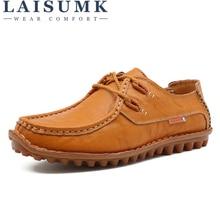 LAISUMK New Arrival Fashion Cow Split Leather Men Casual Shoes Lace Up Mens Designer Footwear Handmade Rubber Male Shoe