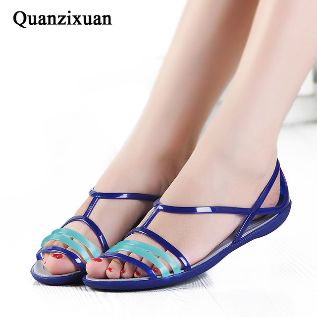 2313efd34507b6 ... Quanzixuan Women Sandals Rainbow Croc Jelly Shoes Woman Flats Sandals  Comfortable Summer Flip Flops Beach Sandals ...