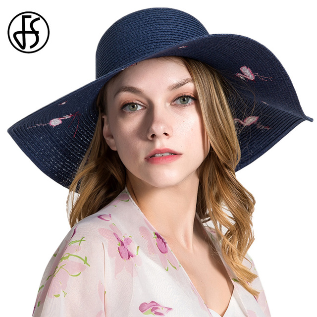 39a34143a47 FS Embroidered Flamingo Love Ladies Summer Straw Sun Hats Cap For Women  Outdoor Large Wide Brim Beach Hat Elegant Breathable