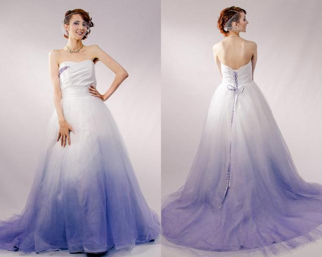 Purple Ombre Tulle Wedding Dress Couture Wedding Gown Colored ...
