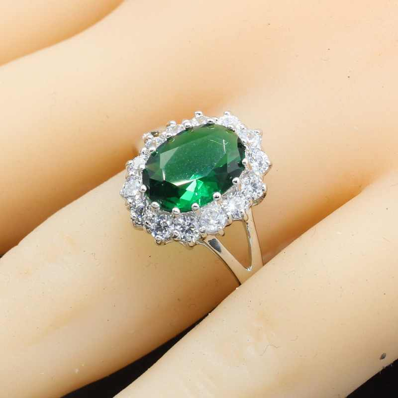 Oval Green Semi-precious 925 Sterling Silver Ring for Women Bridal Wedding Jewelry Christmas Gift