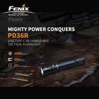USB Type C Charging Fenix PD36R 1600 lumens Ultra compact Rechargeable Tactical Flashlight with 5000mAh Li ion Battery