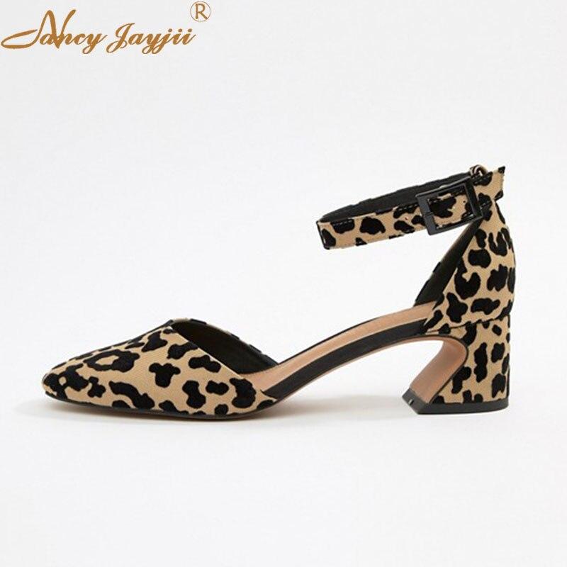 Hoof Heels D'Orsay Two-Piece Shoes Woman Ladies Pumps Leopard Round Toe Ankle-Wrap Buckle Super Mature Elegant 2019