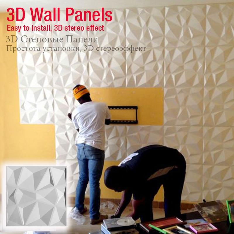 50x50cm 3D Art Wallboard Geometric Cut Diamond Wood Carved Wall Sticker 3D Background Wall Sticker Decorative Panel House Decor