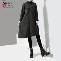 2018 Korean Style Women Solid Black Gray Straight Shirt Dress Long Sleeve Lapel Sloping Hem Female Casual Wear Midi Dresses 7221