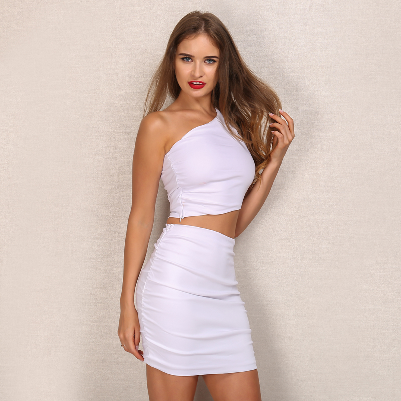 One Shoulder 2 Piece White Bodycon Dress 2