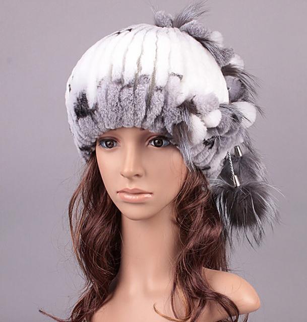 Inverno 2015 moda pele Ms. Rex coelho tampão do Inverno de lã ouvido chapéu morno grosso da Pele feminino upscale feminino de Pele do inverno chapéu