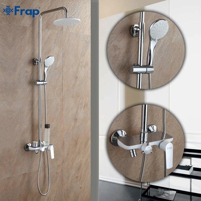 Frap Mode Stil Weiß Dusche Wasserhahn Kalt und Heißer Wasser Mixer Single Griff Einstellbar regen Dusche Bar F2431