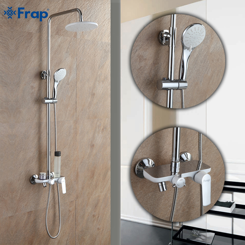 Adjustable Rain Shower Head.Frap Fashion Style White Shower Faucet Cold And Hot Water Mixer Single Handle Adjustable Rain Shower Bar F2431