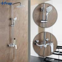 Robinet de douche blanc Frap Fashion Style mélangeur d'eau froide et chaude poignée unique réglable barre de douche de pluie F2431