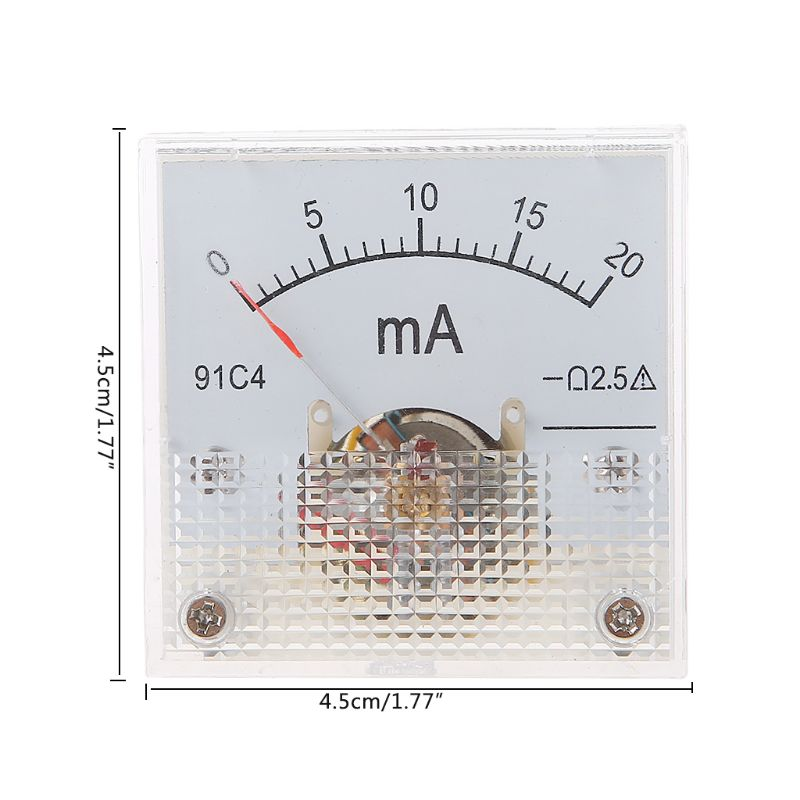 91C4 Ammeter <font><b>DC</b></font> Analog Current Meter Panel Mechanical Pointer Type <font><b>1</b></font>/<font><b>2</b></font>/3/<font><b>5</b></font>/10/20/30/50/100/200/300/500mA A image