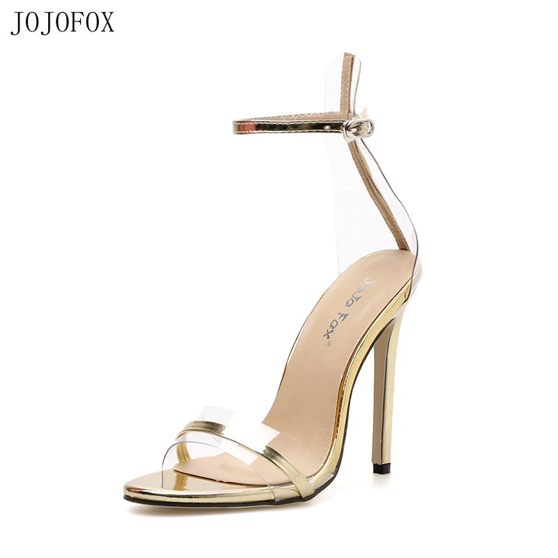 JOJOFOX Sexy Clear Sandals Gold High Heels Womens Pumps Transparent Shoes Sandals Ladies Party Shoes Woman 2019 Summer Sandales